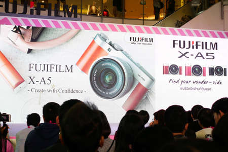 BANGKOK, THAILAND - FEBRUARY 20, 2018: Unveil event of Fujifilm X-A5, the latest mirrorless camera X-A Series for entry customer segment from Fujifilm that has been unveiled at CentralWorld shopping mall in Bangkok Thailand. Редакционное