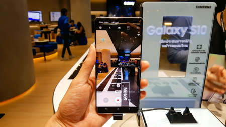 BANGKOK, THAILAND - FEBRUARY 22, 2019: Samsung Galaxy S10 has been unveiled in Samsung Experience Shop at CentralWorld shopping mall in Bangkok, Thailand