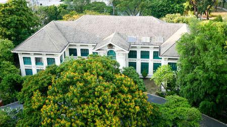 BANGKOK, THAILAND - APRIL 20, 2017: The top view of British Embassy that located among the green trees in Bangkok, Thailand Editorial