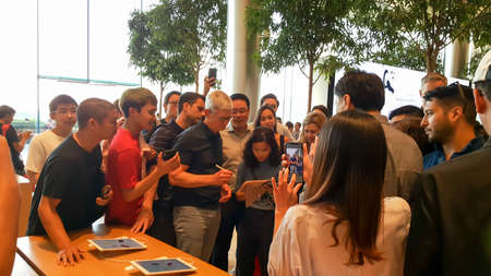 BANGKOK, THAILAND - DECEMBER 13, 2019: Tim Cook, the chief executive officer of Apple Inc. meet the customers at Apple Iconsiam, the first Apple Store in Thailand during Asia tour.