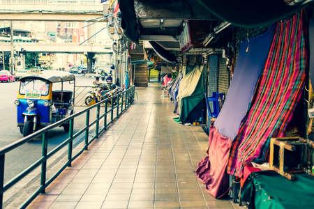 BANGKOK, THAILAND - APRIL 5, 2020: Pratunam Market was temporarily closed by the government act during coronavirus disease (Covid-19)