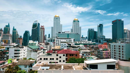 Bangkok, Thailand - May 14 , 2020: Many of skyscrapers building view that built to meet business needs.