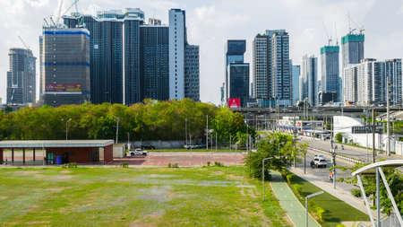 Bangkok, Thailand - May 14 , 2020: Rama 9-Ratchada is the New Bangkok CBD. Many tall of building are created for sale Sajtókép