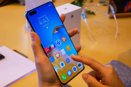 Bangkok, Thailand - JUNE 4, 2020: HUAWEI P40 Pro+ has been unveiled in Thailand, an Android-based high end smartphone produced by Huawei, it is supported 5G communication Sajtókép