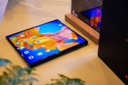 Bangkok, Thailand - JUNE 4, 2020: Huawei Mate XS has been unveiled in Thailand, an Android-based high end foldable smartphone produced by Huawei, it is supported 5G communication