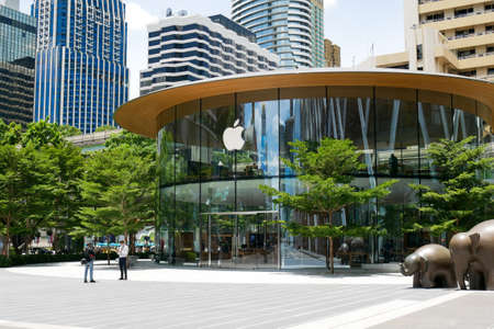 Bangkok, Thailand - July 29, 2020: Apple Central World, the second flagship store in Thailand is preparing to officially opened at CentralWorld shopping mall.