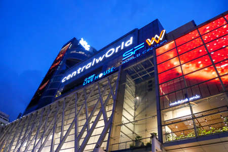Bangkok, Thailand - July 28, 2020: CentralWorld, the largest shopping mall in Bangkok, Thailand early in the evening with beautiful light to  attract people to shop in the mall.