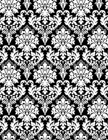 Seamless paisley wallpaper in black background Illustration