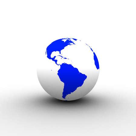3d blue white globe Stock Photo