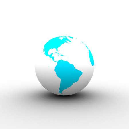 3d cyan white globe