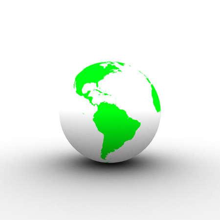 3d green white globe