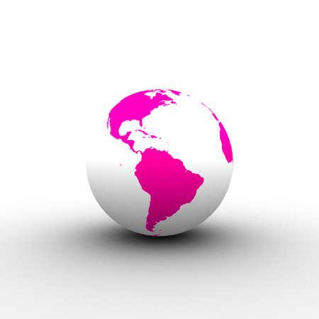 3d pink white globe