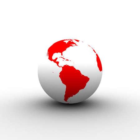 3d red white globe
