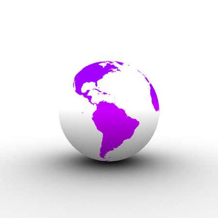 3d violet white globe Stock Photo