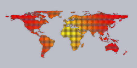 3d red yellow dotted world map