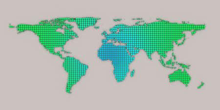 3d geen blue dotted world map