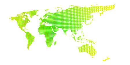 yellow green dotted world map Stock Photo
