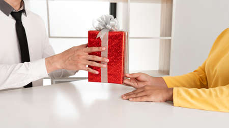the man sending a gift to girlfriend, Happy birthday concept. Stock Photo