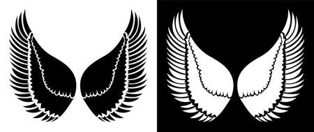 Large Wings of Eagle - Vector line art with black and white background