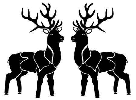 Two Christmas Reindeer facing each other vector black and white art 일러스트