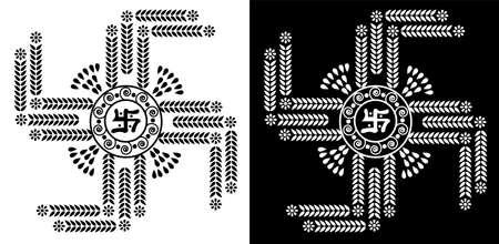 design concept of flower petals and leaves is in black and white background Ilustração