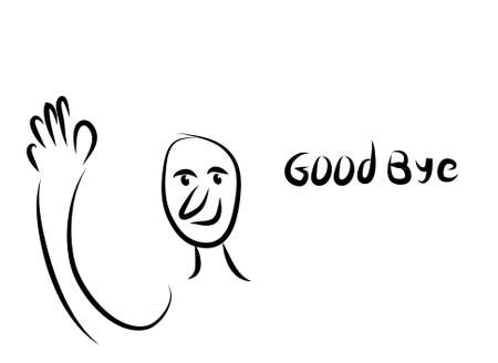 Digital black and white art of funny man face with hand saying good bye - vector illustration art Illustration