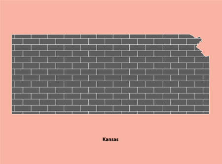 Bricked texture map of United State Kansas Isolated on Light Brown background Vettoriali