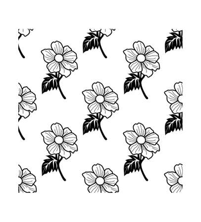 Black and white Hibiscus flower isolated on white background is in Seamless pattern - vector illustration