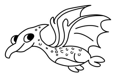 Dragon drawing for kids - Vector Line art