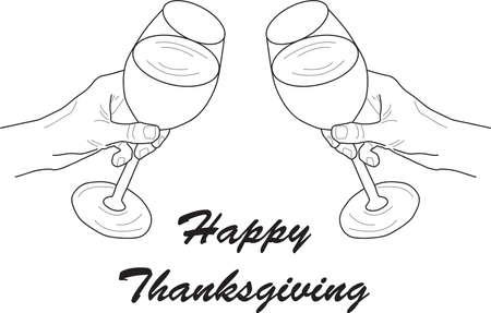 Happy Thanksgiving concept - Vector Line Art