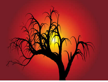 Landscape design of dry tree with warm red Background with sun - vector illustration