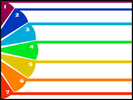 7 Strips And Colorful Semicircle - vector illustration chart