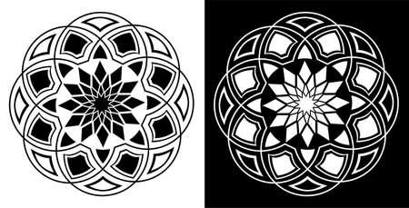 Mandala design concept of Vector art isolated on black and white background Ilustração