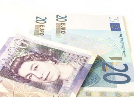 cloesup: Euro and pound notes Stock Photo