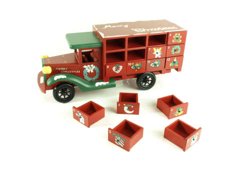drawers: Christmas advent calendar old wooden lorry with drawers Stock Photo