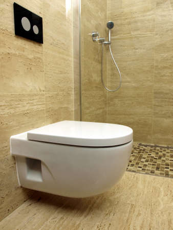 pannel: Wall mounted toilet in a modern bathroom with travertine tiles and a walk in shower