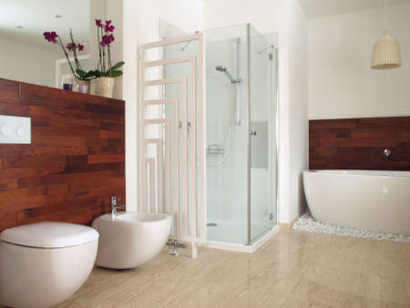 Modern bathroom with free standing bath photo