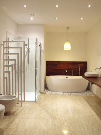 Fee standing bath in a contemporary bathroom