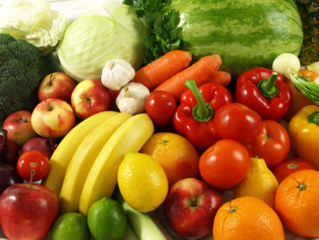 A lot of fresh and natural vegetables and fruits photo