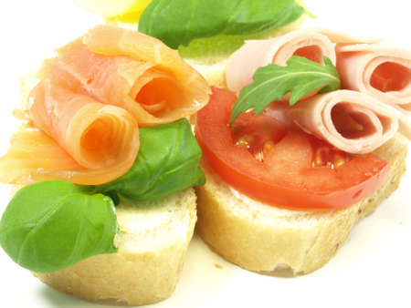 sandwiche: Close-up of sandwiches with various ingredients Stock Photo