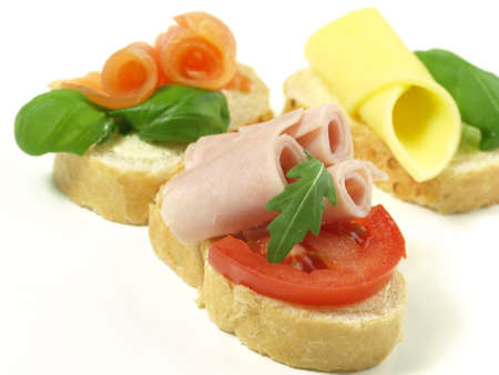 Close-up of various sandwiches on isolated background photo