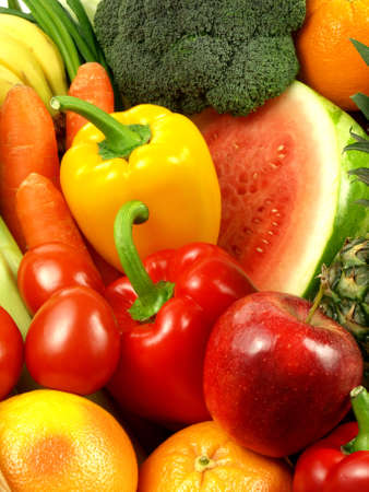 which: Variety of vegetables and fruits which looks tasty Stock Photo
