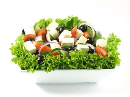 Various ingredients in greek salad photo