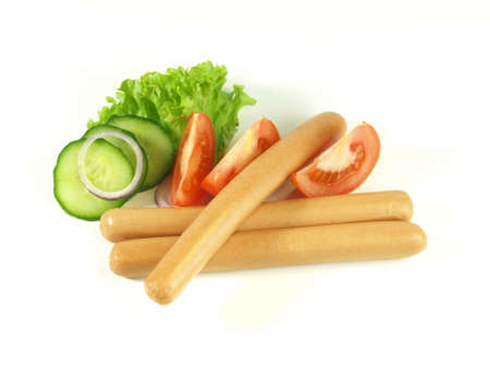 Close-up of frankfurters with decoration photo