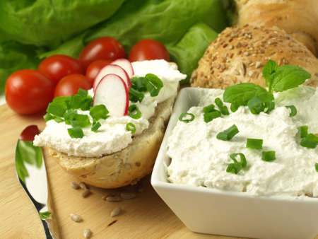 Vegetarian meal with cripsy bread, cottage cheese and vegetables photo