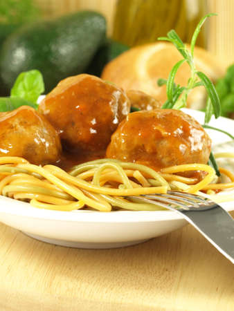 Pasta with homemade meatballs and sauce photo
