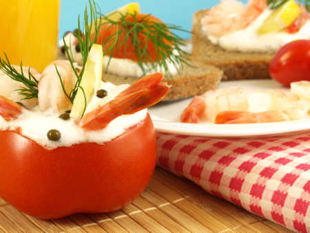 Tomato with shrimps and cream filling  Stock Photo - 12959127