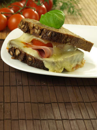 Snack with melted cheese, ham and tomato photo