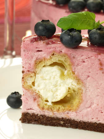 Raspberry cheesecake with creamy filling photo