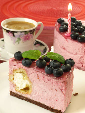 Sweet birthday blueberry cake with meringue photo